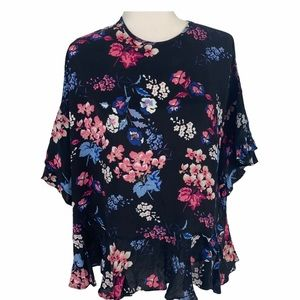 Timo Floral Flounce Sleeves Blouse